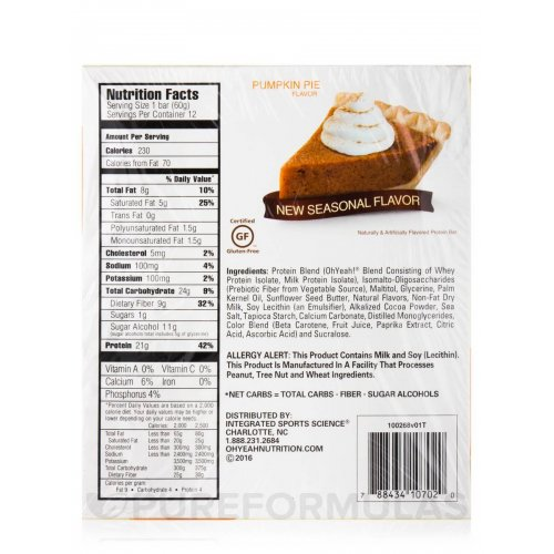 OH YEAH LOW CARB 60 Gr. PUMPKIN PIE