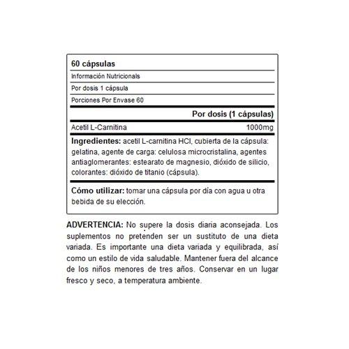 Acetyl L-CARNITINE 1000mg 60 cápsulas